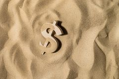 Dollar Sign On the Sand stock photos