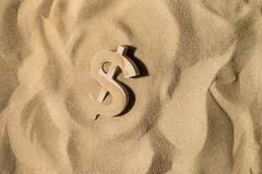 Dollar Sign On the Sand royalty free stock photo