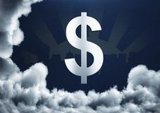 Dream and finance concept. Dollar sign on sbtarct background with clouds. Dream and finance concept. 3D Rendering Stock Photos