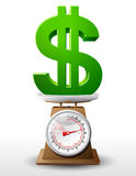 Dollar sign on scale pan. Weighing money symbol on scales. Qualitative vector (EPS-10) illustration for banking, financial industry, economy, accounting, etc. It Royalty Free Stock Image