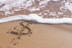 Dollar sign in the sea sand. Waves washed away the inscription. Dollar sign in the sea sand. Waves washed away the inscription royalty free stock image