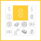 Dollar sign. Set of simple dollar icons in trendy linear style.  Collection of finance  items Royalty Free Stock Photography