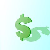 Dollar sign shadow. Dollar sign casting a shadow on a green background Stock Photo