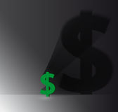 Dollar sign with shadow on the wall Royalty Free Stock Image