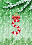 Dollar sign in shape of candy on christmas tree Stock Photos