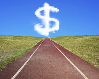 Dollar sign shape cloud in blue sky with running track Stock Images