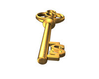 Dollar sign shape golden treasure key. Isolated on white, 3D rendering Royalty Free Stock Images