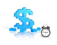 Dollar sign shape of stack blocks with alarm clock Royalty Free Stock Photos