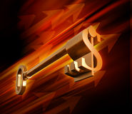 Dollar sign shaped key Stock Photography