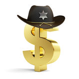 Dollar sign sheriff hat. On a white background Stock Images