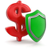 Dollar Sign and Shield (clipping path included) Stock Photo