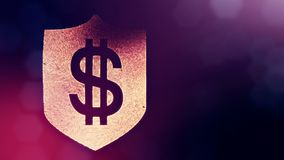 Dollar sign on the shield. Finance background of luminous particles. 3D loop animation with depth of field, bokeh and. Copy space for your text stock footage