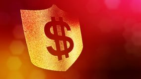 Dollar sign on the shield. Finance background of luminous particles. 3D loop animation with depth of field, bokeh and. Copy space for your text royalty free illustration