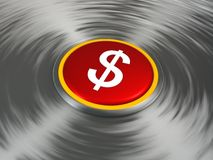 Dollar sign on a shiny red button. On a  metallic background Royalty Free Stock Photos