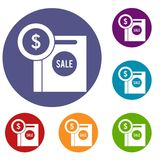 Dollar sign and shopping bag for sale icons set. In flat circle reb, blue and green color for web Royalty Free Stock Photos