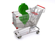 Dollar sign in shopping cart. A green dollar sign in a shopping cart Stock Image