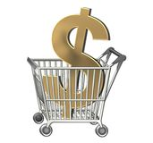 Dollar sign in shopping cart Stock Photography