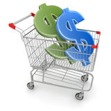 Dollar Sign in Shopping Cart. This is a computer generated and 3d rendered image Royalty Free Stock Photography