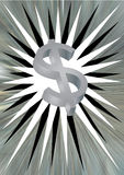 Dollar sign  and silver backdrop Royalty Free Stock Photo