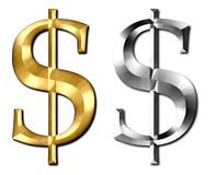 Dollar Sign Silver Gold Stock Photo