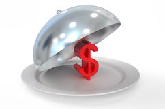 Dollar sign on silver platter Stock Photography