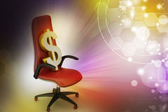 Dollar sign sitting the executive chair Stock Images