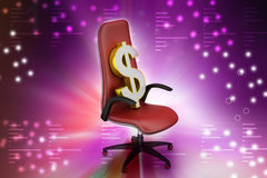 Dollar sign sitting the executive chair Royalty Free Stock Image