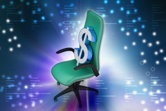Dollar sign sitting the executive chair Stock Image