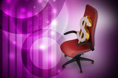 Dollar sign sitting the executive chair Royalty Free Stock Images