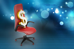 Dollar sign sitting the executive chair Royalty Free Stock Photography