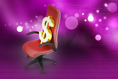 Dollar sign sitting the executive chair Royalty Free Stock Photos