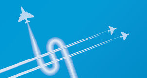 Dollar sign on sky. Jets making dollar sign on sky Stock Photography