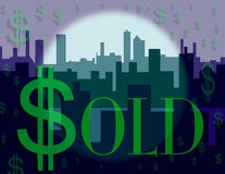 Dollar Sign Skyline. Three layers of skyline creating deep space with  Sold boldly placed on the image Stock Images