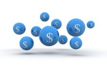 Dollar sign on spheres. 3d illustration Royalty Free Stock Image