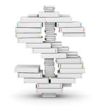 Dollar sign, stacked from blank books. Dollar sign, stacked from many blank title books in column stock illustration