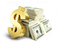 Dollar sign stacks of dollars Royalty Free Stock Images
