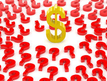 Dollar sign surrounded by question marks. Royalty Free Stock Photo
