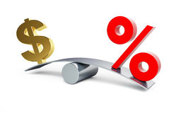 Dollar sign on a swing with a percent sign. On a white background Royalty Free Stock Images