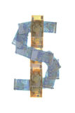 Dollar sign symbol made of euros Stock Photo