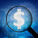 Dollar sign symbol in Magnifying glass Stock Photography