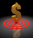 Dollar sign in target. 3d illustration of dollar sign in target, over dark background Royalty Free Stock Photos