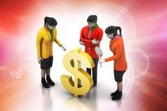 Dollar sign with a team Stock Photos