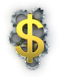 Dollar sign on top of cogs Royalty Free Stock Photo