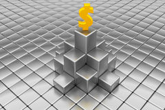 Dollar sign on the top of silver cubes Royalty Free Stock Photo