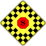 Dollar Sign on a Traffic Warning Sign. In black, yellow and a red Stop Ahead Stock Photos
