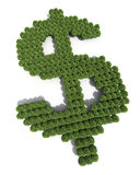 Dollar sign tree shapes stock image
