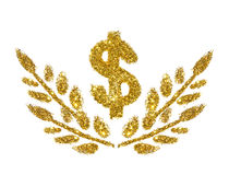 Dollar sign and twigs with leaves of golden glitter sparkle on white background. Concept of prosperity Stock Image