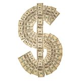 Dollar sign. US Dollar sign, money symbol, made from 100 dollar banknotes, isolated on white background Stock Photo