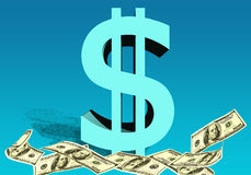 Dollar sign of the USA with currency notes on a blue background Royalty Free Stock Image