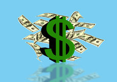 Dollar sign of the USA with currency notes on a blue background Stock Photography